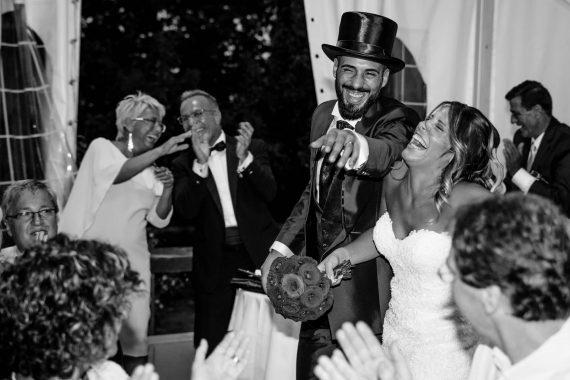 sposi ricevimento festa bianco nero