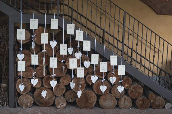 matrimonio tavoli invitati scala legname