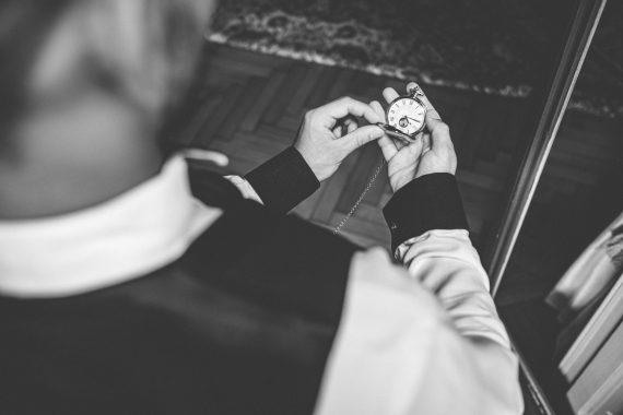 sposo accessori orologio bianco nero
