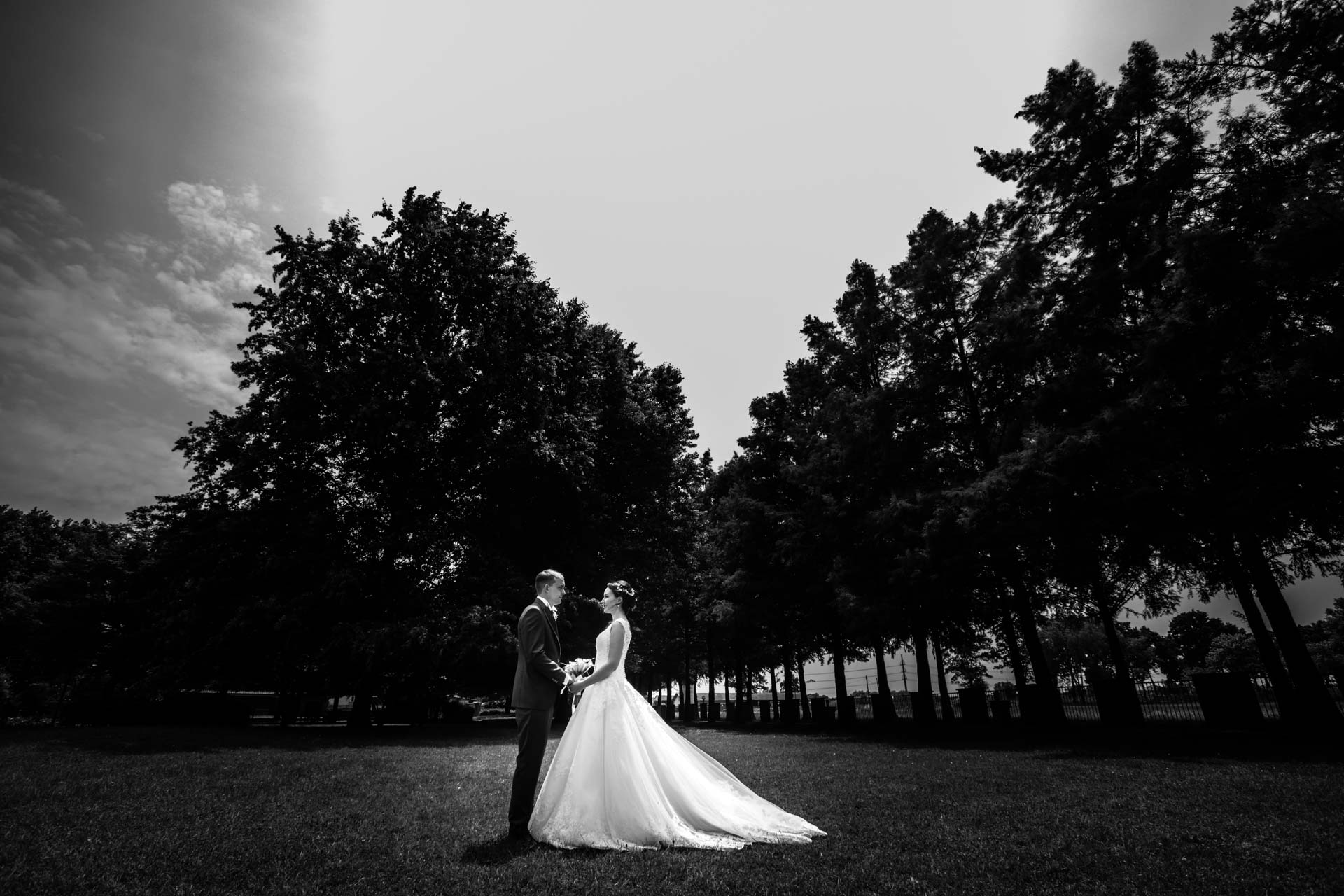 sposi sguardi esterna bianco nero