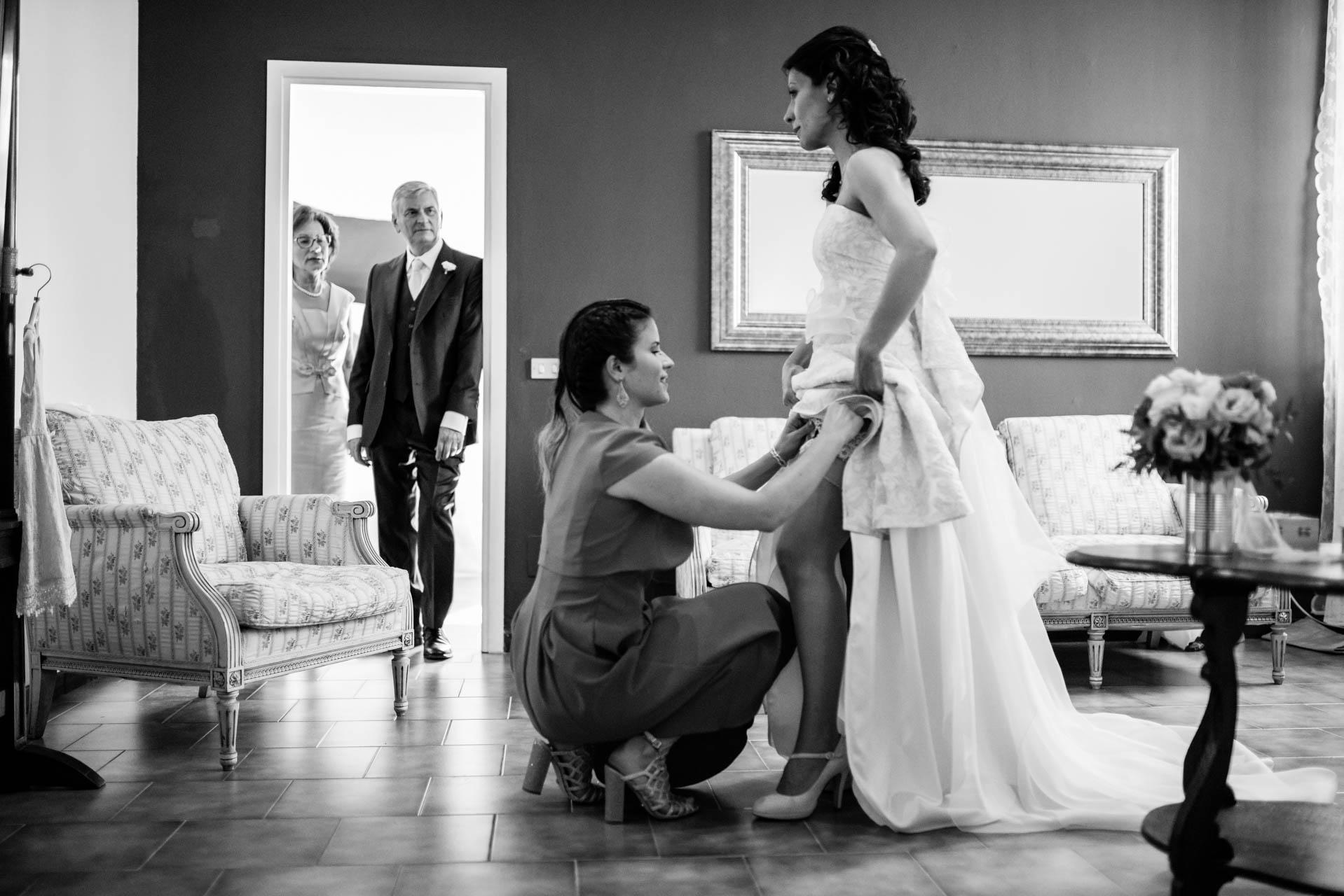 sposa abito famiglia bianco nero